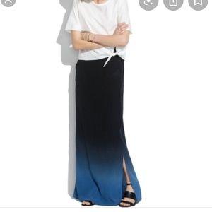 Madewell silk shadeview dip-dye maxi skirt sz 4